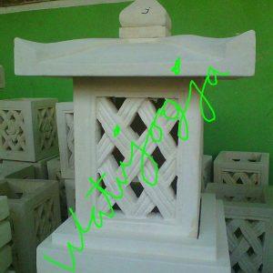 Lampion batu alam motif ketupat