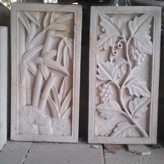 batu alam ukir motif tanaman
